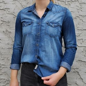 Garage Button Down Faux Denim Shirt